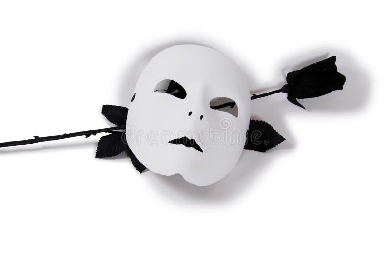 White Mask Black Rose royalty free stock photo