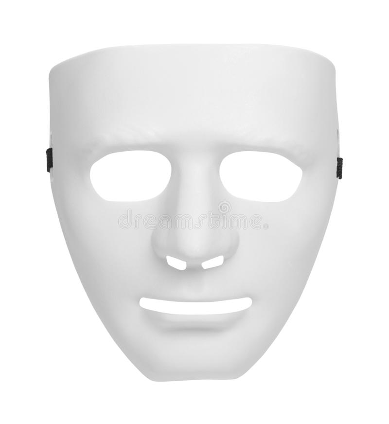 White Mask Cut Out. White Theater Mask Isolated on a White Background stock photography