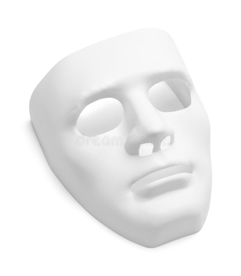 White Mask. White Theater Mask Isolated on a White Background royalty free stock photo