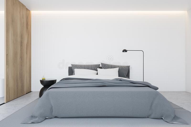 White Master Bedroom Interior With Wooden Door Stock Illustration Illustration Of Bedside Bedding 174071305