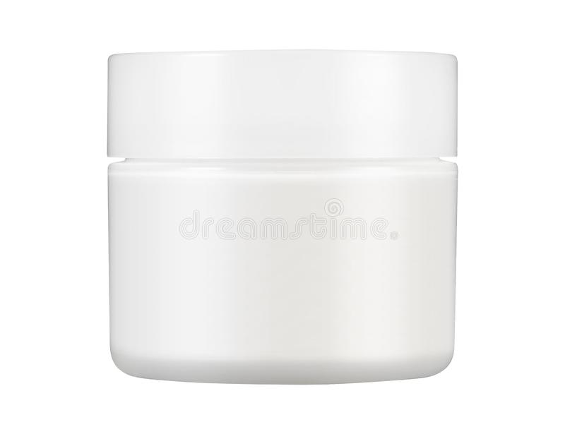 White Matte Glass Doublewall Jar With Plastic Lid. On white background royalty free stock photos