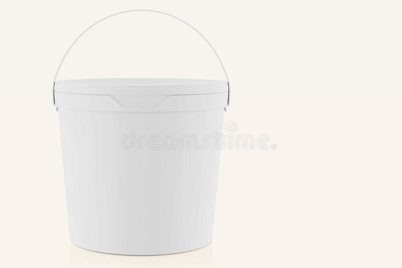 White matte plastic bucket for food products, paint, household stuff. 900 ml. Realistic packaging mockup template. Front view,. Handle up. 3d illustration vector illustration