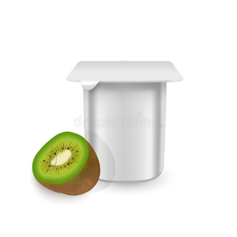 The White matte plastic pot for yogurt, cream, dessert or jam. Photorealistic packaging mockup template. yogurt cream with fresh royalty free illustration