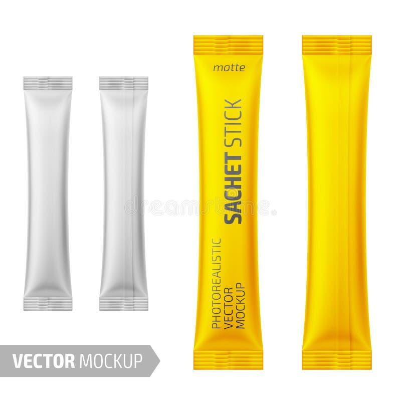 White matte sachet stick. Vector 3d illustration. vector illustration