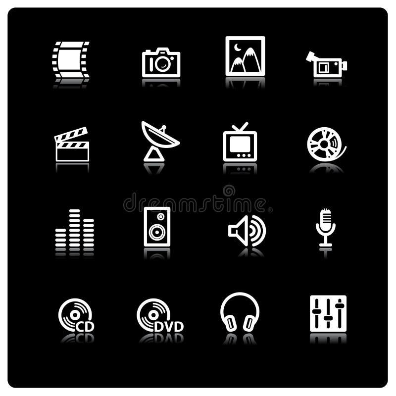 White media icons vector illustration