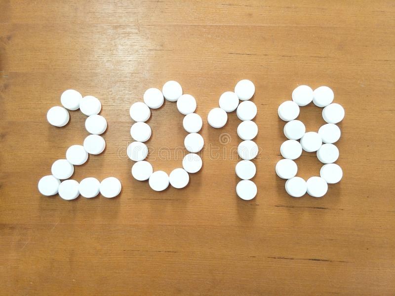 2018 from white medicals. White medicine for new year, 2018 stock photos