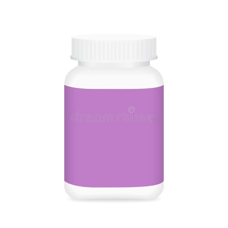 White medicine bottle and purple label, bottle plastic white packaging single blank for template design white background, package. The white medicine bottle and vector illustration