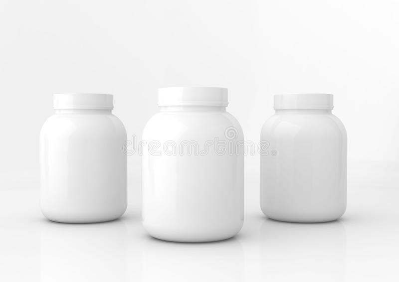 White medicine bottles stock photo