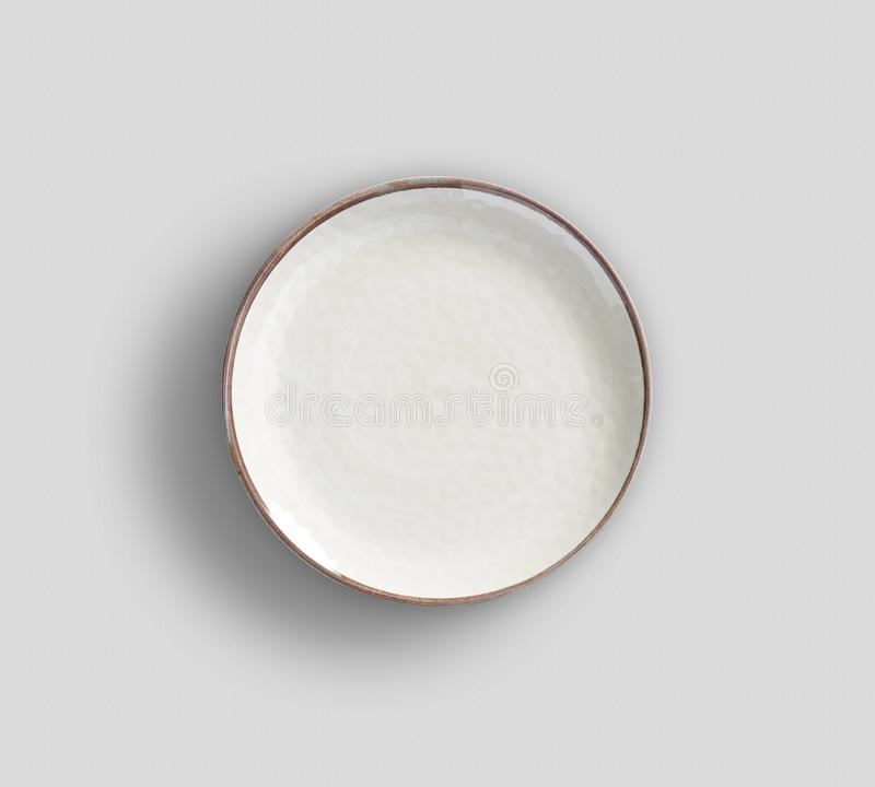 White Melamine Plate  with light gray background royalty free stock images