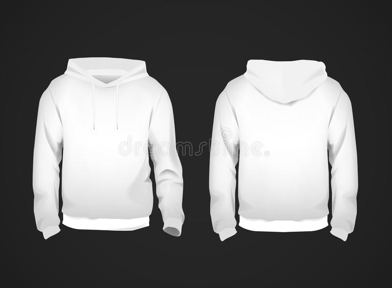 White men`s sweatshirt template with sample text front and back view. Hoodie for branding or advertising royalty free illustration
