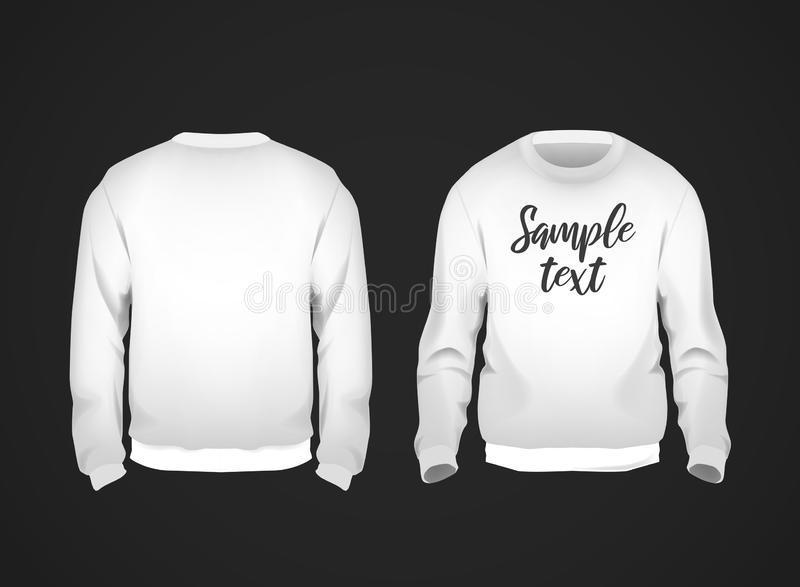 White men`s sweatshirt template with sample text front and back view. Hoodie for branding or advertising stock illustration