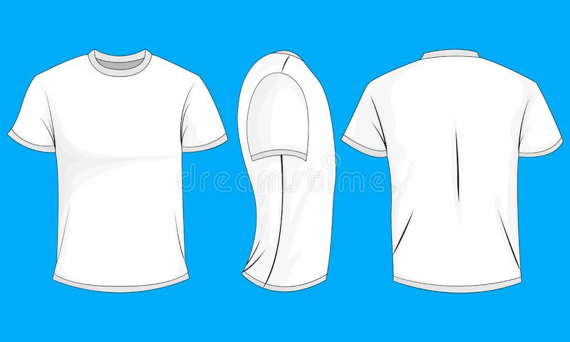 White mens t-shirt with short sleeves. Front, back, side view,0. White mens t-shirt with short sleeves. Front, back, side view. Isolated on blue background stock illustration