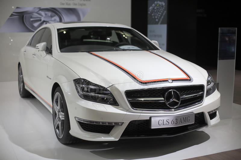 White mercedes-benz cls 63 amg car stock images
