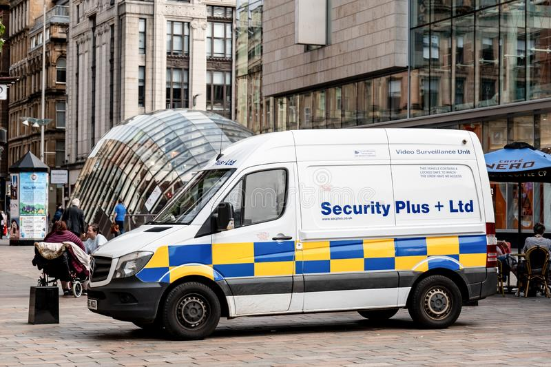 White Mercedes-Benz Sprinter van of Security Plus + Ltd company which is independent volume cash carrier royalty free stock images