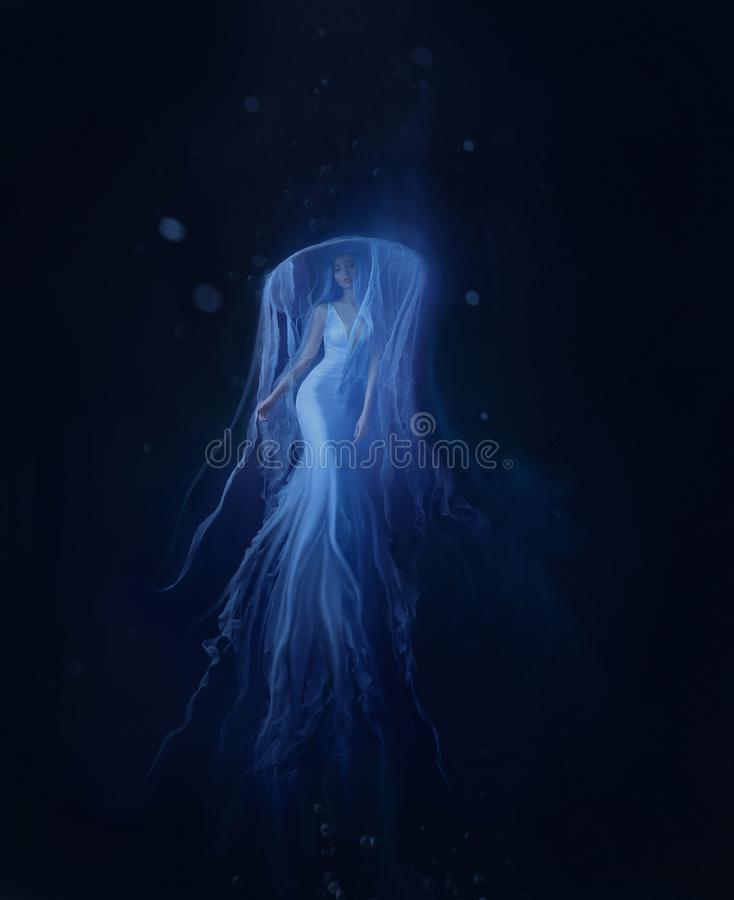A white mermaid, with very long and blue hair floating under the water. An unusual image, the tail of a jellyfish stock image