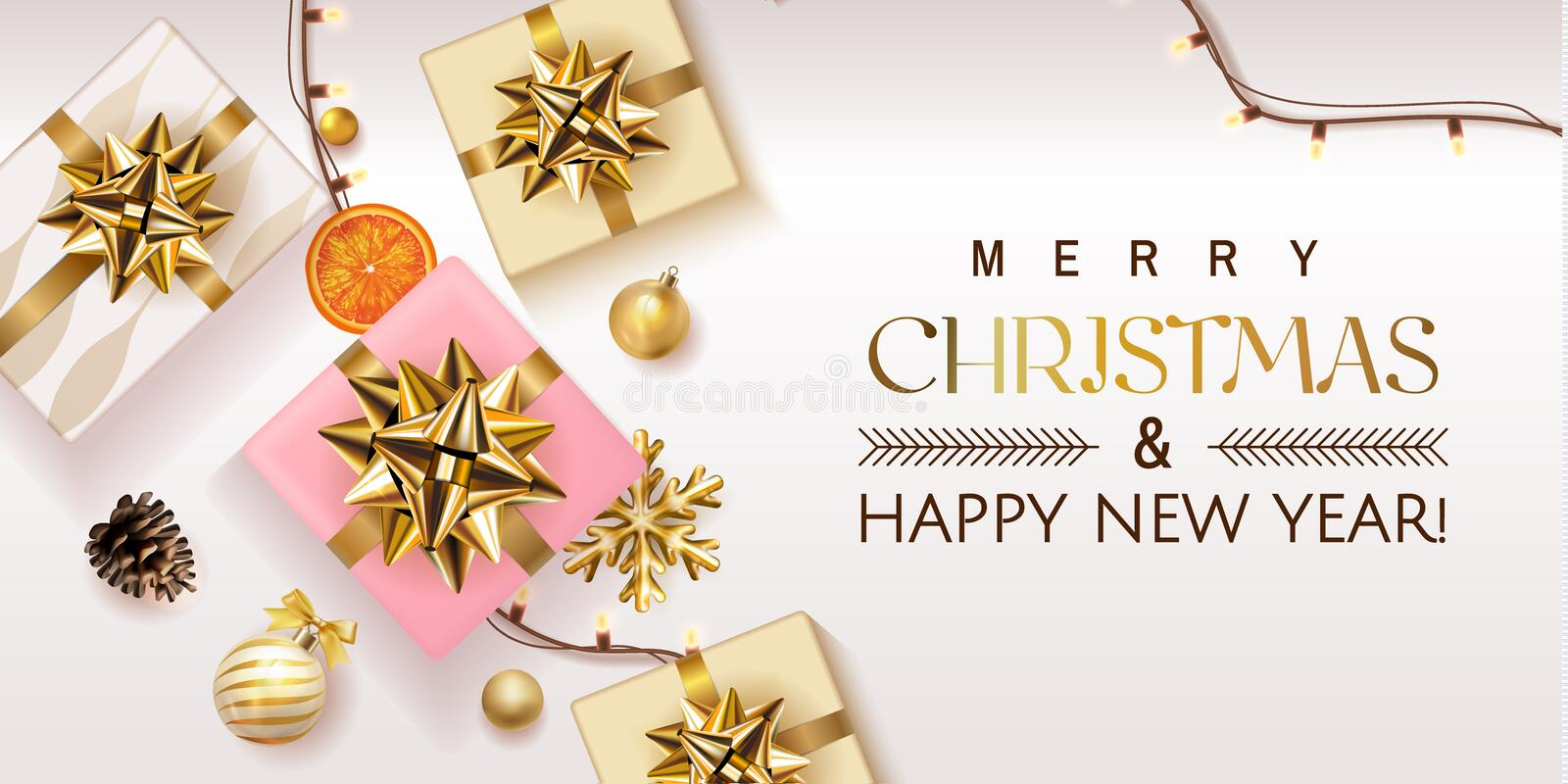 White Merry Christmas and Happy New Year Holiday soft poster illustration with realistic vector 3d objects, Christmas stock illustration