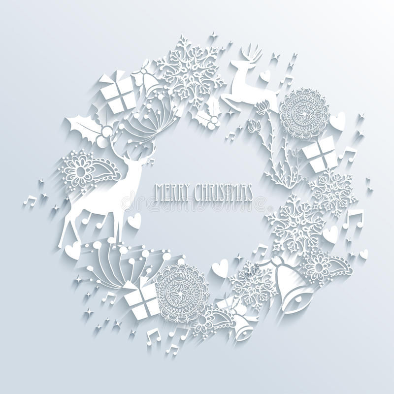 White Merry Christmas wreath greeting card royalty free illustration