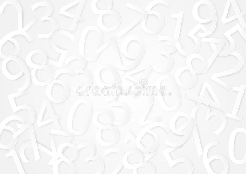 White messy random numbers abstract background vector illustration. Paper art style vector illustration