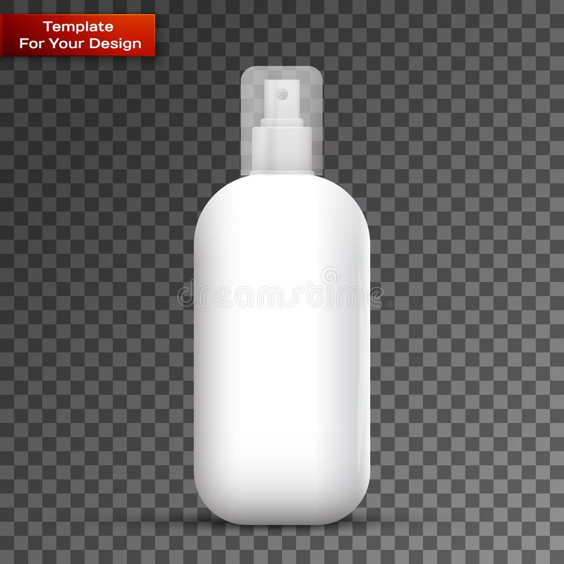 White metal bottle with sprayer cap for cosmetic. Perfume, deodorant or freshener or hairspray on transparent background vector illustration