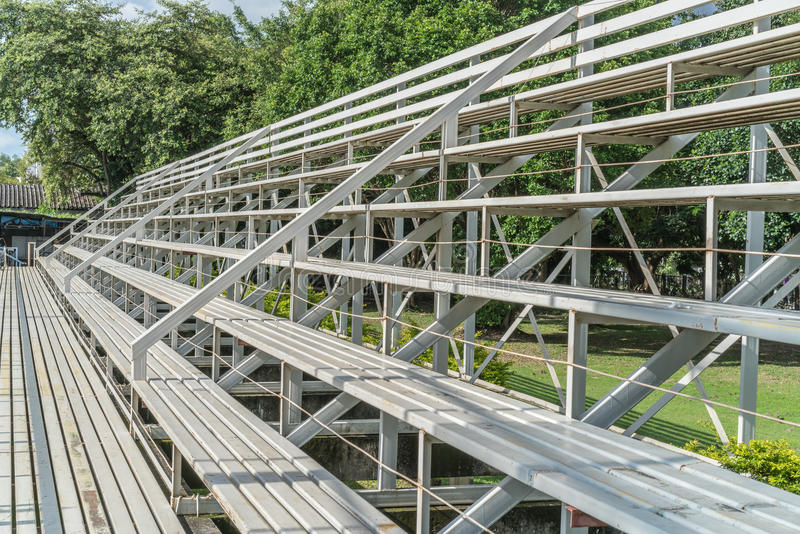 White metal grandstand. Perspective view of White metal grandstand stock photo