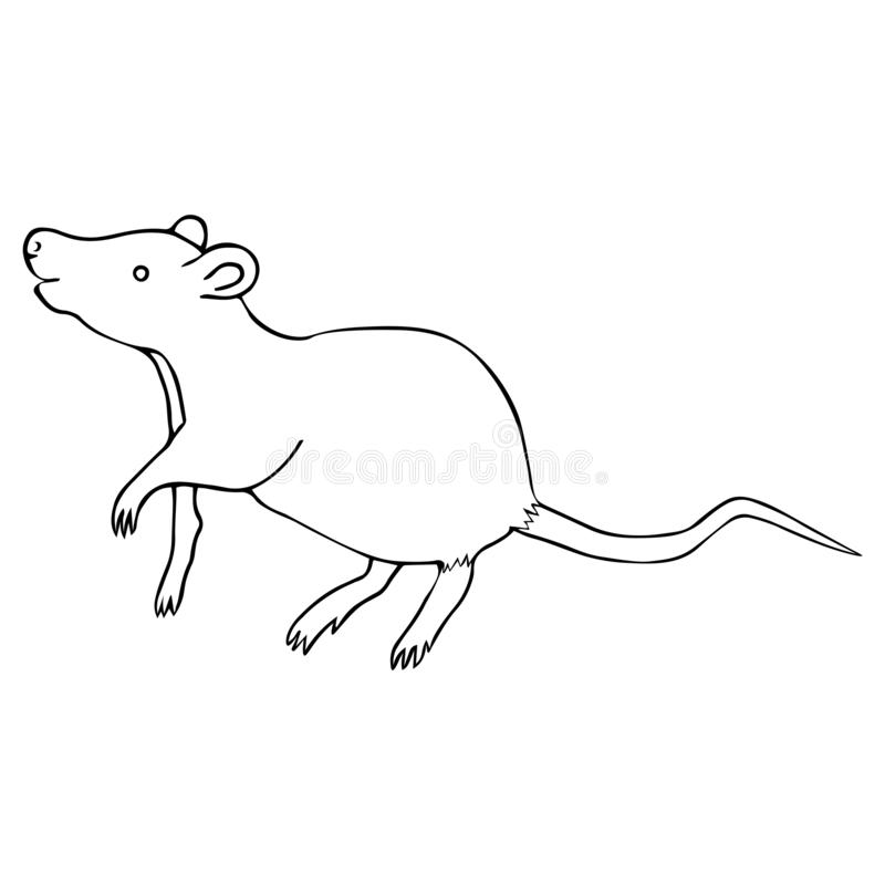 White metal rat. Colorless background. Chinese New Year. Eastern calendar. Coloring book for children royalty free illustration