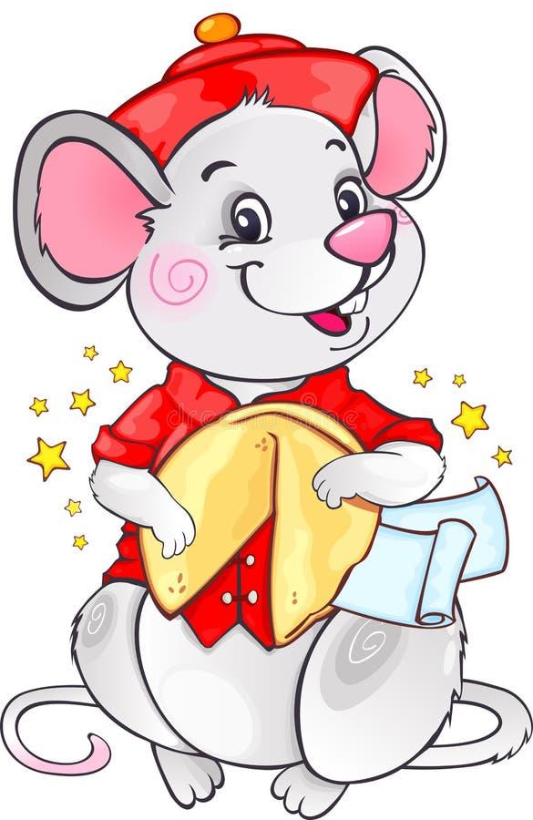 White Metal Rat com Fortune Cookie para o Ano Novo 2020 ilustração do vetor