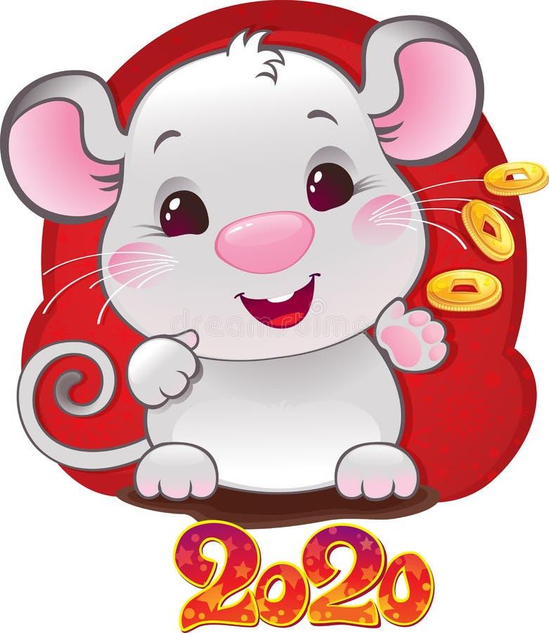 White Metal Rat - símbolo do horóscopo chinês para o ano 2020 ilustração do vetor