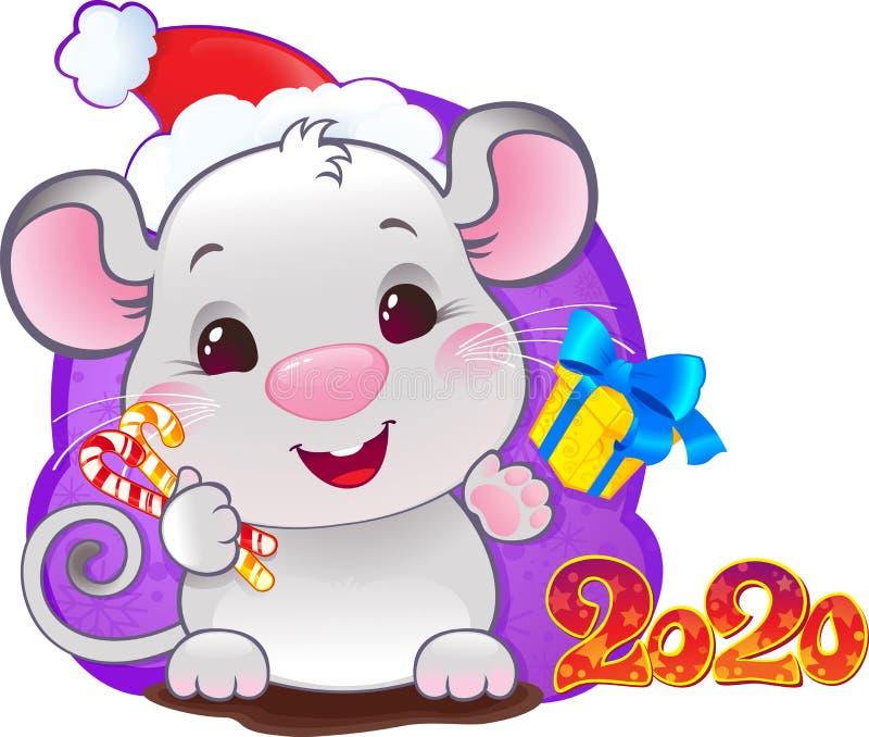 White Metal Rat - símbolo do horóscopo chinês para o ano 2020 ilustração royalty free