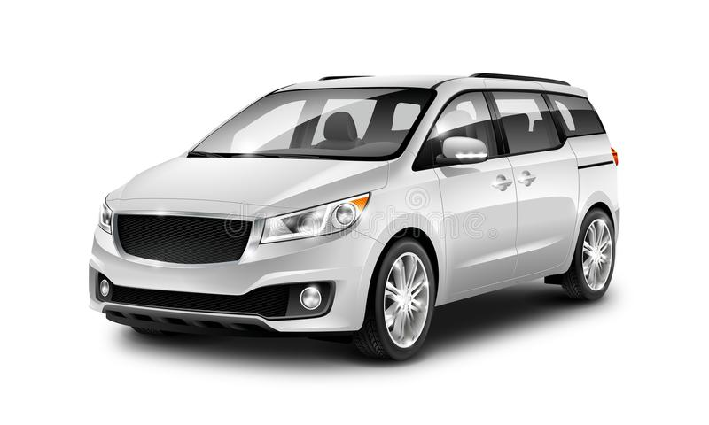 White Metallic Generic Minivan Car On White Background. Perspective view. 3d illustration With Isolated Path. White Metallic Generic Minivan Car On White vector illustration