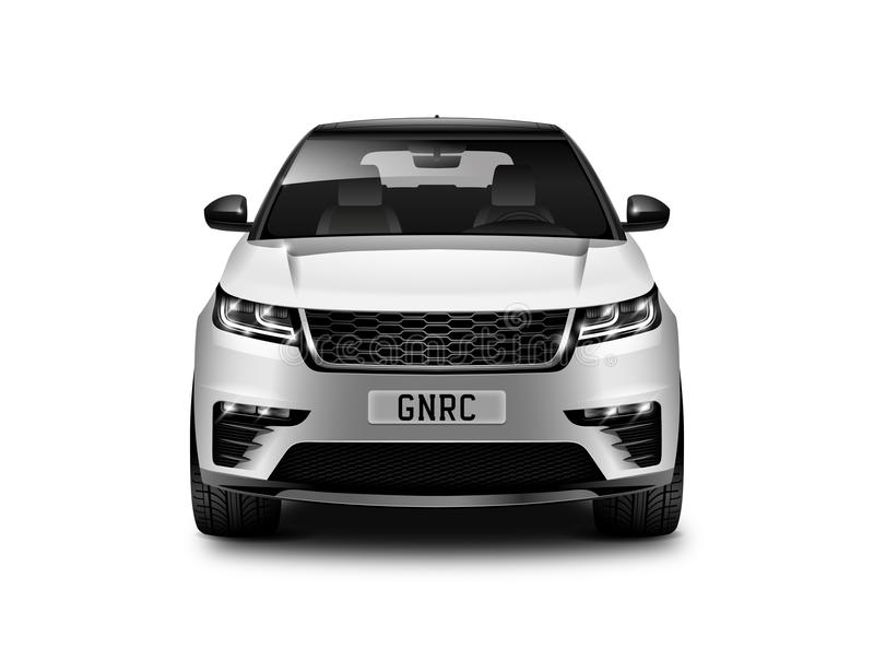 White Metallic Generic SUV Car On White Background Front View With Isolated Path stock illustration