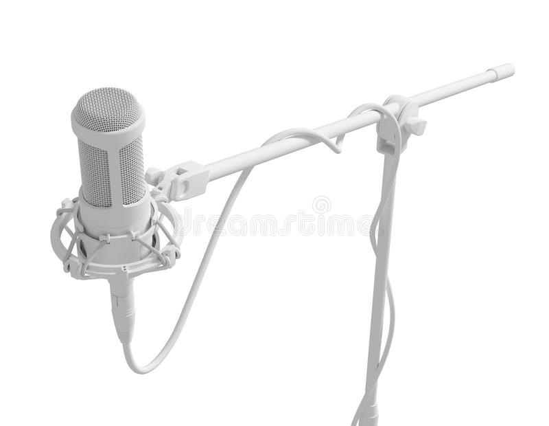 White Microphone On The White Background stock illustration