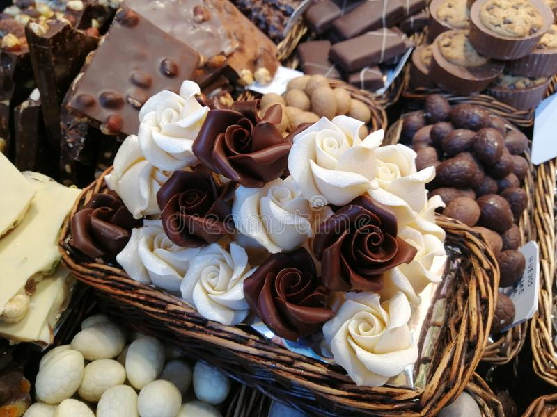 White and milk chocolate in a market in Barcelona in Spain. White milk chocolate market barcelona spain stock photos