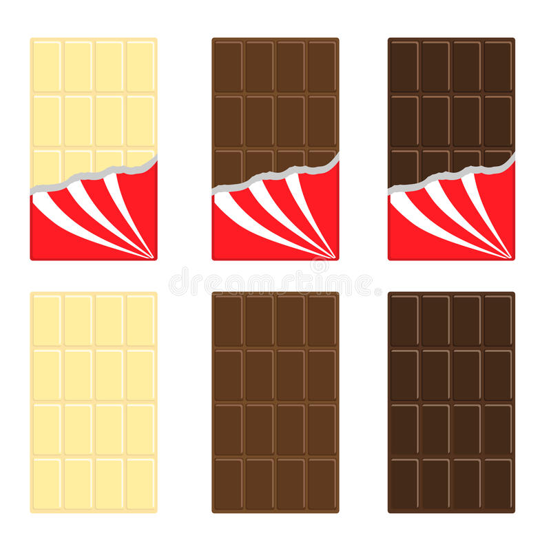 White, milk, dark chocolate bar icon set. Opened red wrapping paper foil . Tasty sweet dessert food. Rectangle shape Vertical vector illustration