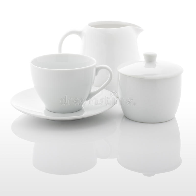 Free White Milk Jug, Sugar Bowl And Coffee Cup Royalty Free Stock Photography - 44815157
