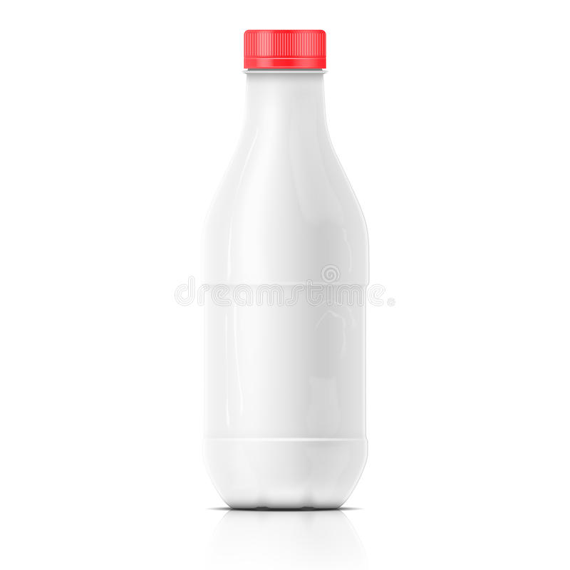 White milk plastic bottle template. Template of plastic blank milk bottle with red cap on white background. Packaging collection stock illustration