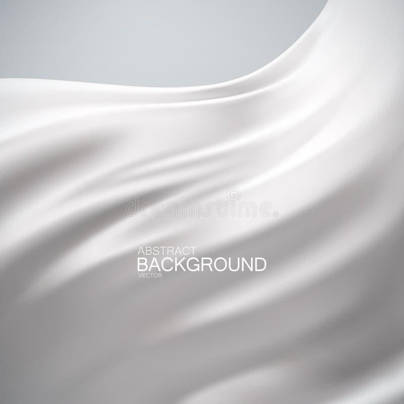 White milky silk fabric. Vector illustration of white milky satin or silk fabric. Vector silk textile. Wavy cloth. Decoration element for design vector illustration
