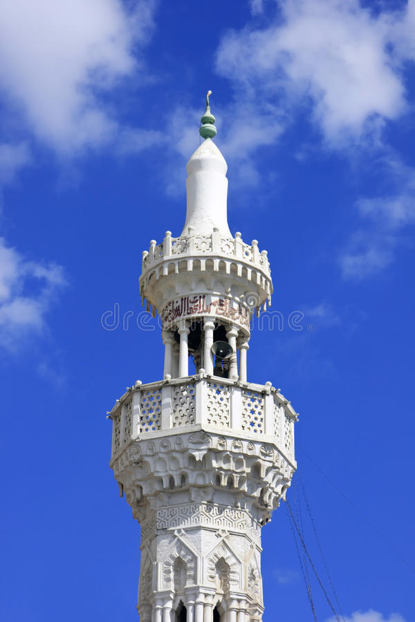 White Minaret Of Muslim Masjed Royalty Free Stock Image
