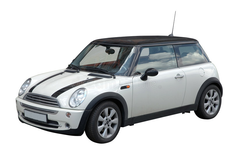 White mini car stock image