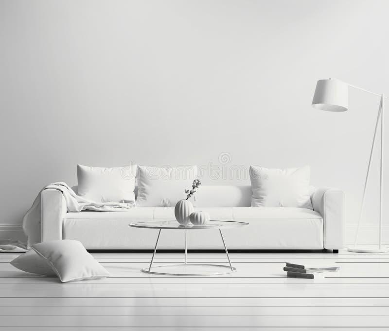 White minimal contemporary interior. Living room vector illustration