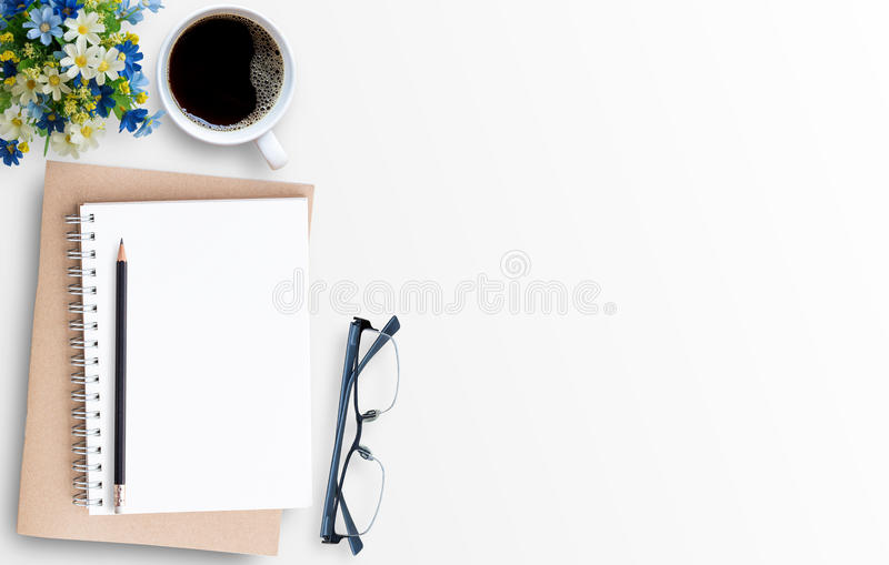Download White Minimal Office Desk Table With Laptop Computer Stock Photo    Image Of Message,