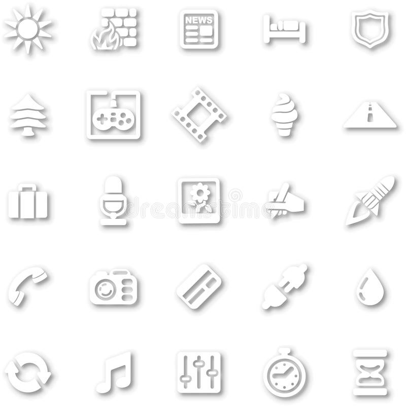White minimalist icon set stock illustration
