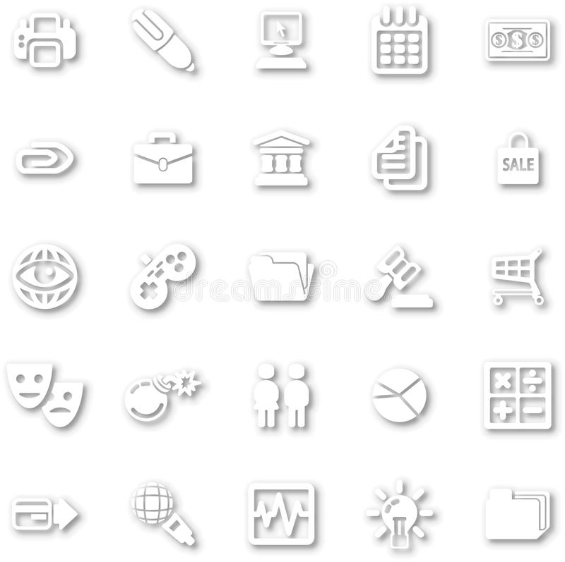 Download White minimalist icon set stock vector. Illustration of computer - 34695832
