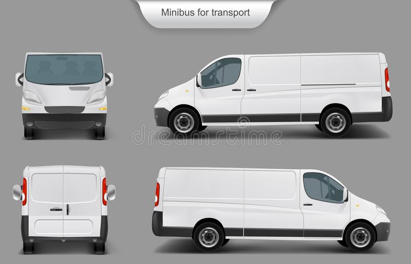 White minivan front, back, side view. Vector realistic white delivery minivan, city minibus front, back, side view, with shadow, isolated on gray background royalty free illustration