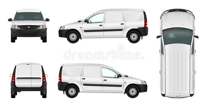 White minivan template. Blank vector delivery van. stock illustration