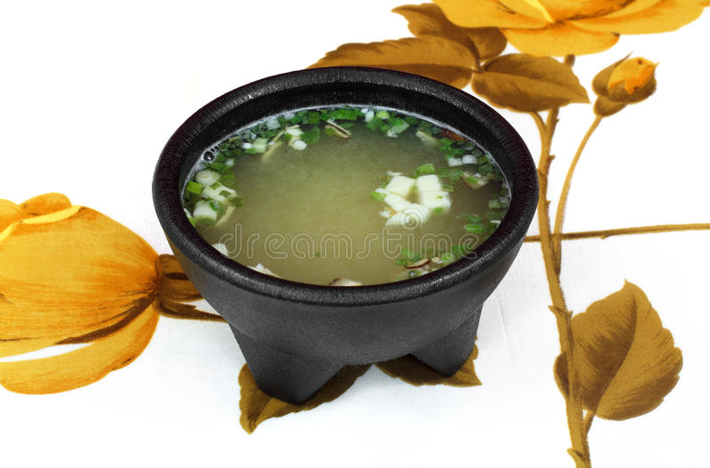 Download White Miso Soup On Floral Tablecloth Stock Photo - Image: 19157194