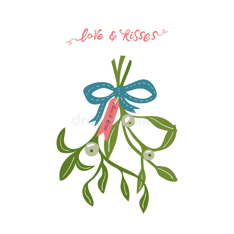 White mistletoe. Christmas hand lettering with decorative design elements. This illustration can be used as a greeting card, poster or print stock illustration