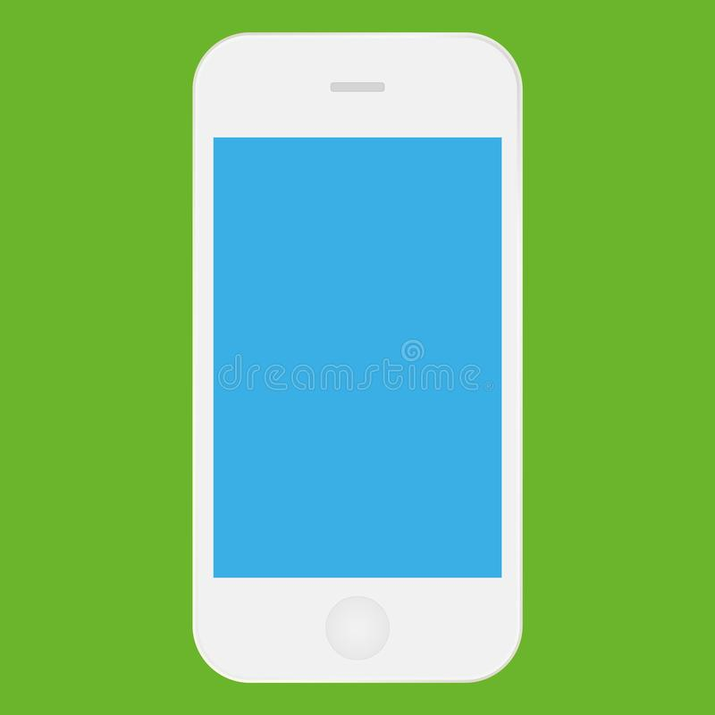White mobile phone iphone with blue screen icon vector eps10. Smartphone iphone white color icon for web design. vector illustration