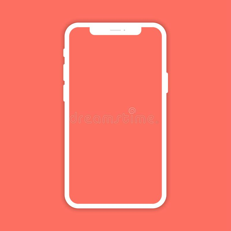 White mobile phone with shadow on coral color background. Smartphone in flat design royalty free illustration