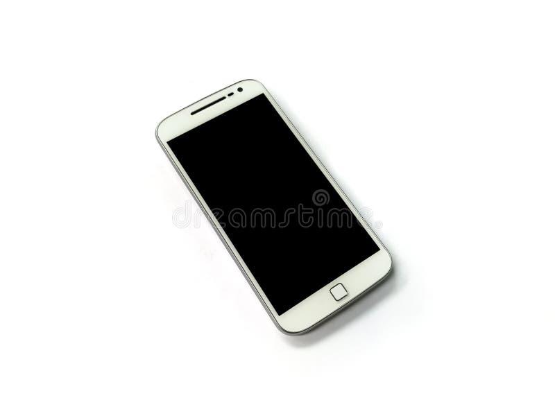 White mobile phone on white background. White mobile phone isolated on white background