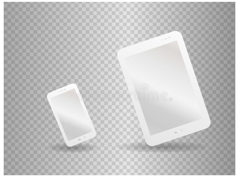 White mock-up vector template for corporate identity with smatphone and tablet royalty free illustration